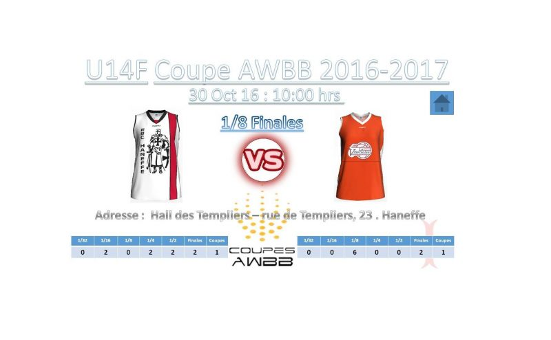 1/8 de finales de coupe AWBB U14 Filles