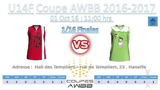 Coupe AWBB U14 Filles: RBCH – Blegny