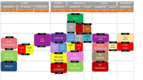 Planning des Entrainements et Matchs