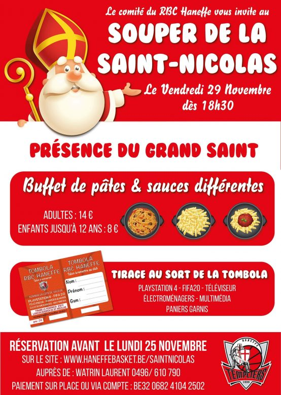 Inscription pour le souper de Saint-Nicolas 2019