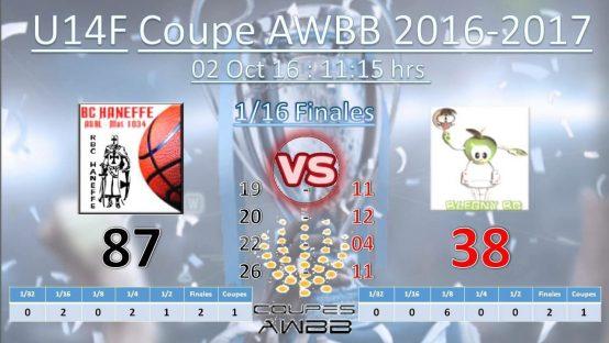 Victoire des U14 en coupe AWBB